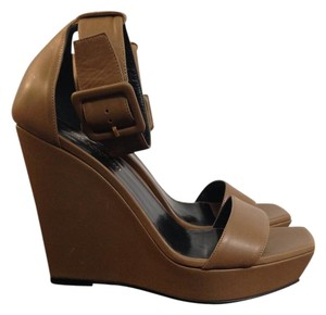 Saint Laurent Wedge Leather Sandle brown Sandals