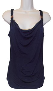 MICHAEL Michael Kors Fun! Rope Strap Leather Trim Top navy blue