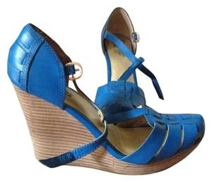 Seychelles Retro Leather Wedge Blue Sandals