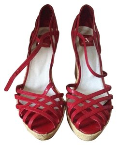 Dolce Vita Patent Leather Summer Retro Woven Red Sandals