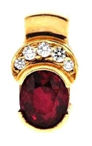 Other 14k gold 2 1/3 ct oval ruby & (5) 1/10 Ct diamond pendant w Appraisal