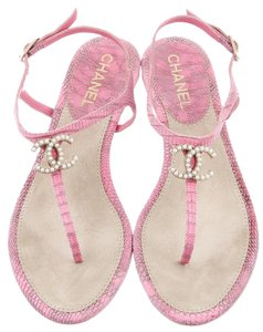 Chanel Snakeskin Pearl Pink, White Sandals