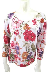 Talbots Floral Silk Knit Top Multi-Color