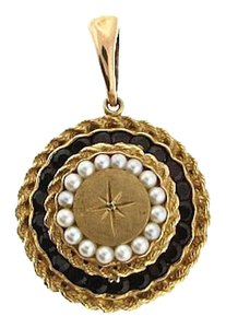 Other Antique - 14k gold garnet & cultured pearl locket pendant
