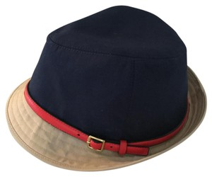 Coach Coach Fedora Trilby Hat Multi-Color Solid Red/Navy/Khaki Cotton Hat