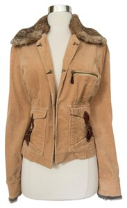 Sheri Bodell Military Fur Corduroy Fall Military Jacket