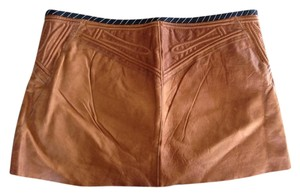 Roberto Cavalli Leather Vintage Mini Skirt Brown