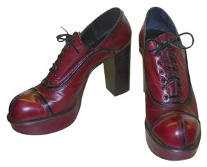 Sichohen VINTAGE Spanish Platform Heels Leather Unique Style Hand Crafted Burgundy Platforms
