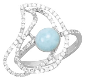 Other Rhodium Plated Abstract Ring with Larimar and CZs (sizes 6-10)