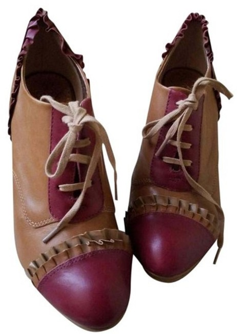 Item - Tan and Red Anthropologie Brown & Leather Ruffle Lace Up Heels Pumps Size US 7 Regular (M, B)