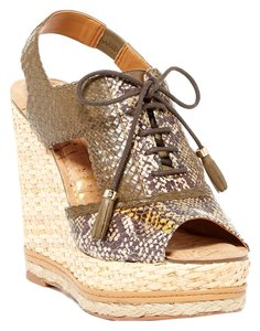 a60903ff487a5a Sam Edelman Tinley Lace Up Snakeskin Printed Leather Woven Tassel Basket  Tan Wedges