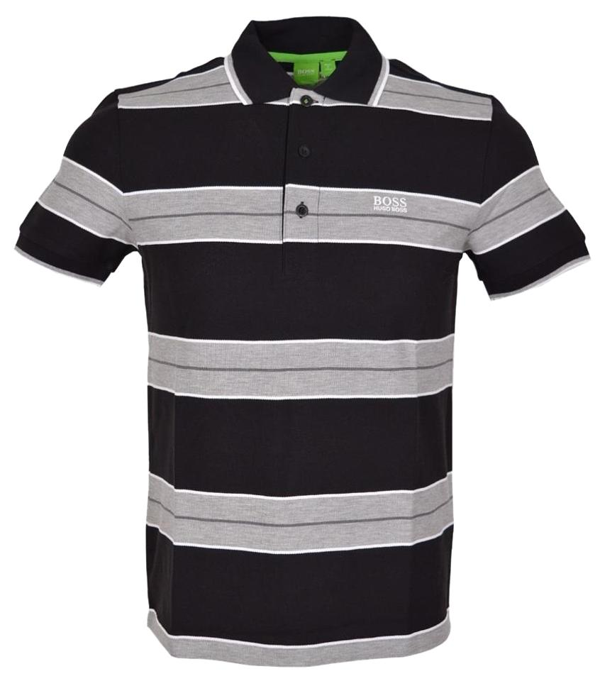 ed920aab8 Hugo Boss Black and Grey Modern Paddy 1 Cotton Striped Polo Golf Tee ...