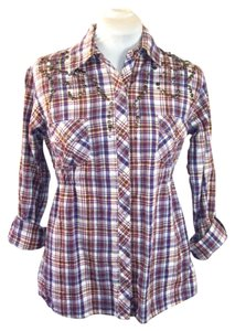 Panhandle Slim Rockabilly Western Cowgirl Button Down Shirt Purple Shimmer Plaid