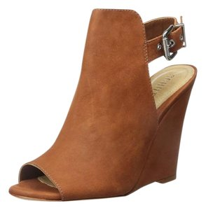 SCHUTZ Suede Wedge Bootie Leather Tan Wedges