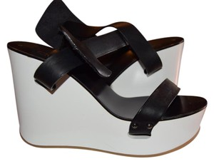 Chloé Leather Chloe Black-white Wedges