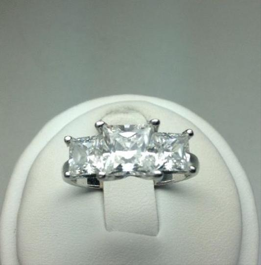 Diamonique NEW 3 Stone QVC Sterling Silver Diamonique Ring, Size 8.25, 3 Stones Signify PAST, PRESENT & FUTURE! Anniversay Ring!Wedding Ring, Engagement Ring!