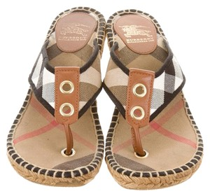 Burberry House Check Nova Check Brown, Beige, Gold Wedges