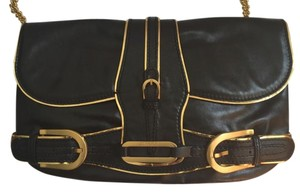 Jimmy Choo Leather Black with gold trim Clutch