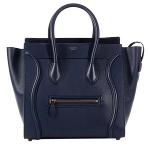 Céline Ce.k0607.01 Navy Blue Leather Tote