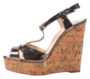 Christian Louboutin Bronze Lb.k0602.01 Sandals Silver Leather Wedges