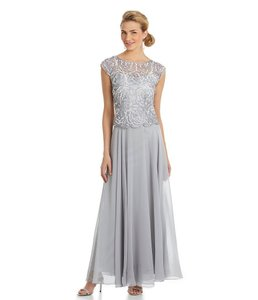 JKara Silver/Silver Floral Sequined Dress Dress