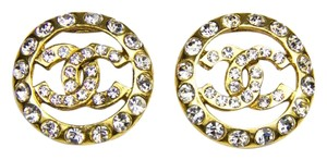 Chanel Chanel Large Crystal Embedded CC Clip-On Earrings