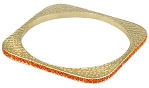 Rhinestone Crystal Orange Harvest Square Cuff Bracelet Bangle