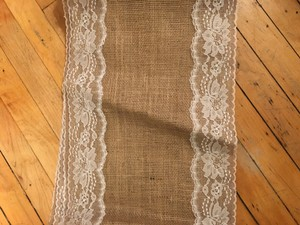 Burlap And Lace Trim Table Runner