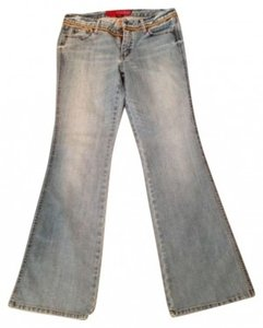 Guess Distressed Light Rope Flower Festival Hippie Relaxed Flare Leg Jeans-Light Wash