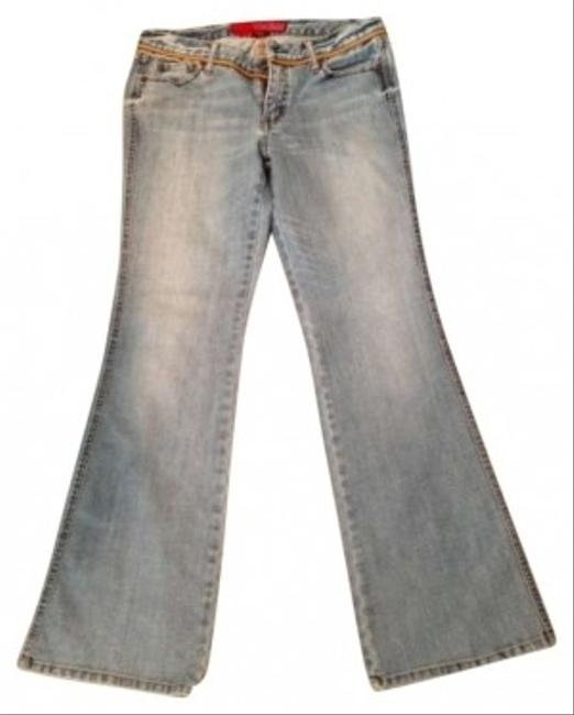 Guess S Distressed Light Rope Flower Festival Hippie Relaxed Flare Leg Jeans-Light Wash