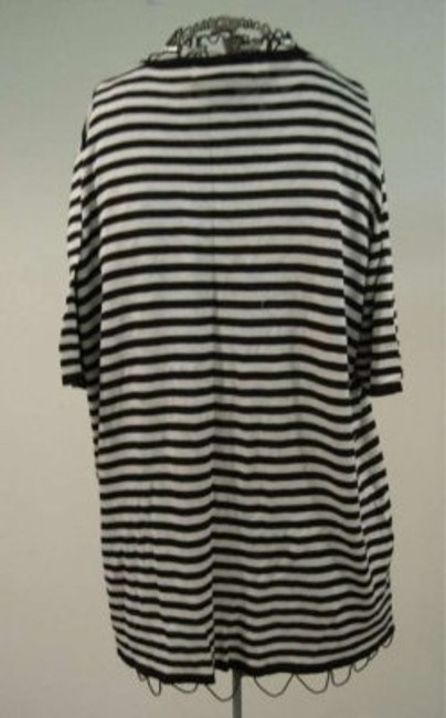 August Silk Preppy Stripped T Shirt White and Black