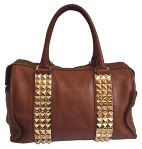 Tory Burch Studded Leather Designer Satchel in Chestnut