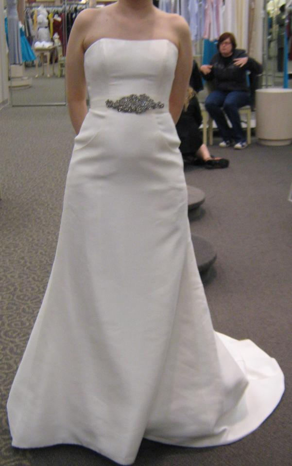 d15cf5d9a3c4 Oleg Cassini Ivory Strapless Traditional Wedding Dress. Street Size: 4 (S)  ...