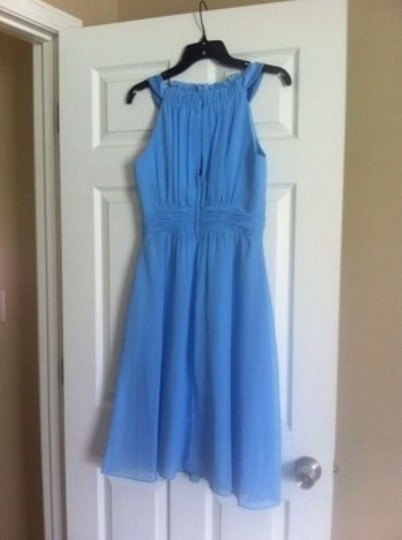 Alfred Angelo Blue Jay Chiffon Satin 7053 Formal Bridesmaid/Mob Dress Size 4 (S)