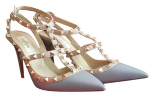 Valentino Rockstud Grey Caged Matte Gray Leather Pumps