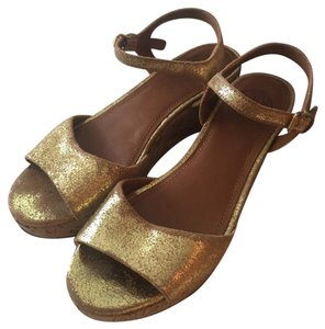Tory Burch Gold Glitter, Tan Wedges