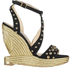 Paloma Barceló Black, Gold Wedges