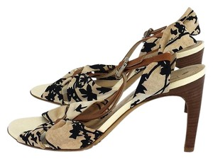 Céline Tan Black Floral Fabric Heels Sandals
