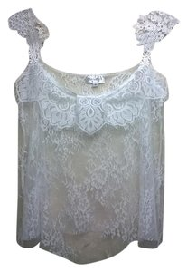 Lisa Nieves Lace Crop Chic Strappy Lace Trim Top off white