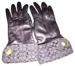 Coach Authentic Black leather Coach gloves with signature cuffs