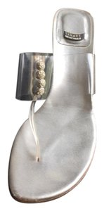 Stuart Weitzman Jeweled Wedge Thong Clear Vinyl/Silver Leather Sandals