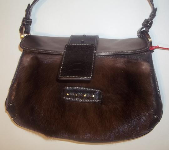 Valentino Buttery Soft Lambskin Geniune Mink Studded Accents Hobo Bag