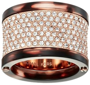 Michael Kors NWT. Size 7. Stainless Steel Pave Crystal Tortoise Rose Gold Tone Ring