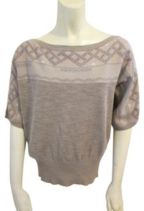 Anthropologie Boatneck Fairisle Linen Cotton Batwing Sweater