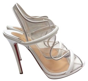 Christian Louboutin Clear Pvc Front Cutout Patent-leather Trims Almond Peep Toe White Pumps