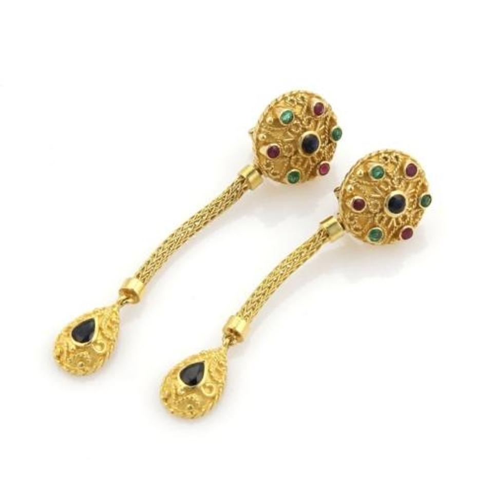 Other Estate 2 20ct Multi Gems 18k Yellow Gold