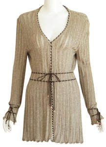St. John Suede Beaded Pointelle Cardigan