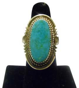Silver Style Silver Style Oblong Turquoise Sterling Silver Ring Size 7 1/2