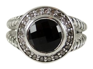 David Yurman David Yurman Sterling Silver 8mm Black Onyx Diamond Petite Cerise Ring