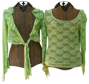 Alberto Makali Lace Shrug Top Lime Green